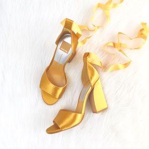 Dolce Vita | saffron goldenrod satin wrap heels
